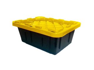 HDX 5 Gal  Heavy Duty Storage Bin  Black Yellow