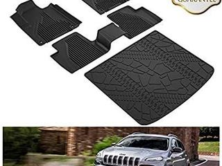 KIWI MASTER Floor Mats   Cargo liners Set Compatible for 2014 2018 Jeep Cherokee
