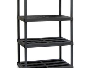 Muscle Rack 36 W x 24 D x 56 H 4 Shelf Resin Shelving Unit  600 lb Capacity  Black
