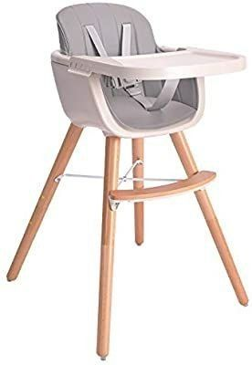Baby High Chair  3 in 1 Wooden High Chair with Removable Tray and Adjustable legs for Baby Infants Toddlers