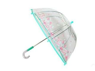GIRl S ClEAR AQUA PINK FlORAl PRINT 17  UMBREllA
