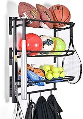Sports Equipment Storage Rack for Baseball Basketball Football Badminton Golf Yoga Exercise Balls   Four Badminton Tennis Hold   3 Separate Storage Rack   4 Hooks for Fences and Concrete