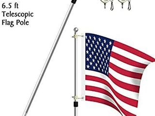 Becko 6 5ft Heavy Duty Aluminum Alloy Telescopic Adjustable Anti Winding Flag Pole   Silver