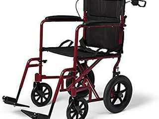 Medline lightweight Transport Wheelchair with Handbrakes  Folding Transport Chair for Adults has 12 inch Wheels  Red