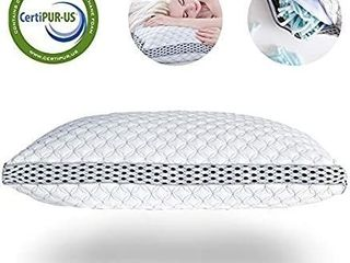 lIANlAM King Memory Foam Pillow for Sleeping Shredded Bed Bamboo Cooling Pillow with Adjustable loft 4D Design Hypoallergenic Washable Removable Derived Rayon Zip Cove  King