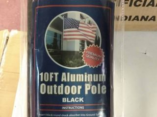 4less 10ft Aluminum Outdoor Flag Pole KIT w Ground Spike   Black