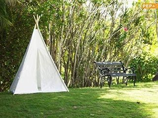 Teepee Tent for Kids   White Kids Teepee Tent   Tipi Tents Indoor Outdoor   Play Tent 5 Feet Tall   4 Poles   large Childrens Teepee Tents for Girls and Boys Kids