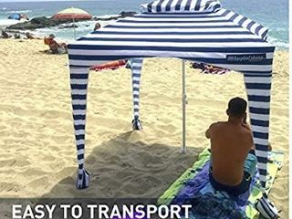 EasyGo Cabana   6  X 6    Beach   Sports Cabana keeps you Cool and Comfortable  Easy Set up and Take Down  large Shade Area  More Elegant   Classier than Beach Umbrella  Navy and White Striped