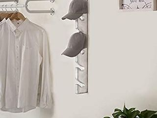 MyGift Vintage White Wood Wall Mounted 6 Slot Baseball Cap Display Rack