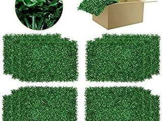 DQS Artificial Boxwood Panels   12 Pieces of Faux Hedge Wall Backdrop  24 x 16 Inch Green Boxwood Wall Mat