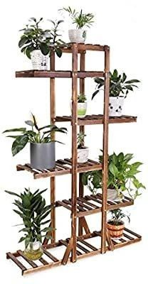 6 Tier Wooden Plant Stand Carbonized Wood Plant Stand Holder