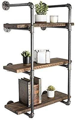 Pipe Decor 3 Tier Industrial Shelves  Vintage Iron DIY Shelving Unit  Rustic Wall Mounted Hanging Bookshelf  Garage or Kitchen Storage  Heavy Duty Floating Black Metal Rack Sturdy 35 inch  No Wood