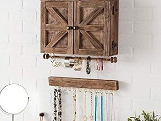 Rustic Wall Mounted Jewelry Organizer with Wooden Barndoor Decor  Jewelry holder for Necklaces  Earings  Bracelets  Ring Holder  and Accessories  Includes hook organizer for hanging jewelry  Brown