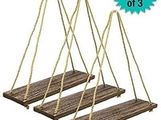 Rustic Distressed Wood Hanging Shelves  17 Inch with Swing Rope Floating Shelves  Dark Brown   Pack of 3