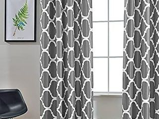 Melodieux Moroccan Fashion Room Darkening Blackout Grommet Top Curtains for living Room  52 by 84 Inch  Grey  1 Panel