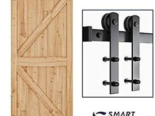SMARTSTANDARD 6 6ft Heavy Duty Sturdy Sliding Barn Door Hardware Kit  Smoothly and Quietly  Easy to install  Includes Step By Step Installation Instruction Fit 36 40  Wide Door Panel  I Shape Hanger