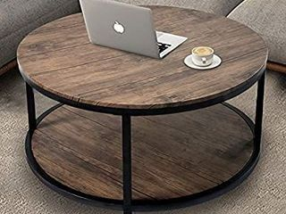 36aRound Coffee Table  Rustic Wooden Surface Top   Sturdy Metal legs Industrial Sofa Table for living Room Modern Design Home Furniture with Storage Open Shelf  light Walunt