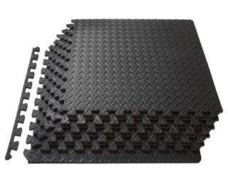 ProSource Puzzle Exercise Mat High Quality EVA Foam Interlocking Tiles   Covers 24 Square Feet   Black