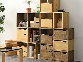 Kirigen Decorative Cubical Organizer 1 Cube Fully Assembled   Wood Stackable Open Cube Closet   Natural Square Cube Storage Cabinet  Book Shelvesi1 4Bookcase  XG NA