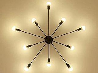 RUXUE Modern Flush Mount Ceiling light Metal Art Industrial Ceiling light 10 lights Black Painted Finish for Dining Room Bedroom Kitchen livingroom Hallway Restaurant Warehouse Barn  10Head Black