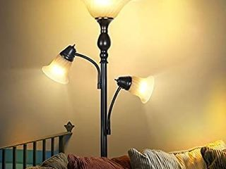 Brightech Evelyn Double   Free Standing Tall Pole Torchiere lED Floor lamp a Dimmable Corner light for living Room  Office  Bedrooms  Glass Shade  Two Adjustable Reading Arms   Black