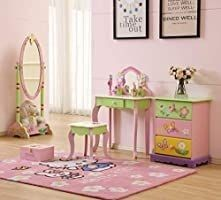 YFDZONE Wooden Vanity Table and Stool Set Kids Vanity Set with Mirror Children Dressing Table Makeup Table with Mirror and Chair for Girl Pink
