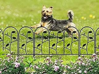Amagabeli 18in x 7ft Decorative Garden Fence Border Rustproof Iron Animal Barrier Black Metal Fencing Border for Dogs Flower Bed Edge Section Outdoor Wire Patio Garden Folding landscape Fencing FC01