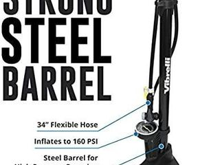 Vibrelli Bike Floor Pump with Gauge   High Pressure 160 PSI
