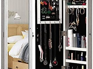 HollyHOME Mirrored Jewelry Cabinet lockable