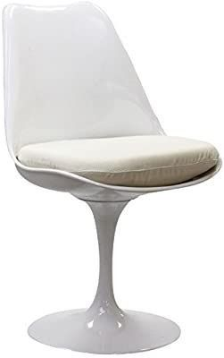 Modway lippa Mid Century Modern Upholstered Fabric Swivel Kitchen and Dining Room Chair in White