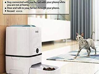 Iseebiz Automatic Pet Feeder 5l Smart Feeder Dog Cat Food Dispenser Voice Recording Timer Programmable  Portion Control  IR Detect  8 Meals Per Day for Small and Medium Pet
