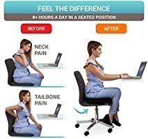 Seat Cushion Pillow for Office Chair   100  Memory Foam Firm Coccyx Pad   Tailbone  Sciatica  lower Back Pain Relief   Contoured Posture Corrector for Car  Wheelchair  Computer and Desk Chair