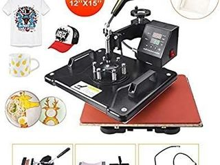 Power Heat Press Machine 12  X 15  Professional Swing Away Heat Transfer 5 in 1 Digital Sublimation 360 Degree Rotation Multifunction Combo for T Shirt Mugs Hat Plate Cap