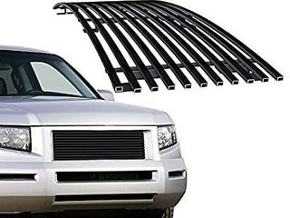 APS Compatible with 2005 2008 Honda Ridgeline Main Upper Stainless Steel Black 8x6 Horizontal Billet Grille Insert H87114J