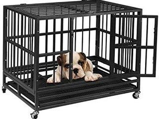 Ainfox 48inch Heavy Duty Metal Dog Crate  large Double Door Folding Strong Dog Pet Kennel Cage Tray  Fits large Dog Breeds