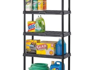 Muscle Rack 36 W x 24 D x 72 H 5 Shelf Resin Shelving Unit  750 lb Capacity  Black