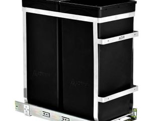 AdirHome 9 5 Gal  Steel In Cabinet Double Pull Out Trash Can in Black