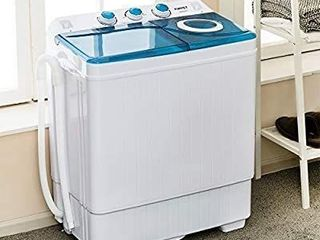 KUPPET Compact Twin Tub Portable Mini Washing Machine 26lbs Capacity  Washer 18lbs Spiner 8lbs Built in Drain Pump Semi Automatic  White Blue