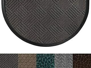 Gorilla Grip Original Durable Rubber Door Mat  Heavy Duty Doormat for Indoor Outdoor  Half Circle  Waterproof  Easy Clean  low Profile Rug Mats for Entry Patio High Traffic Areas  Gray Diamond