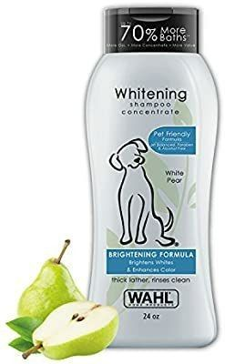 Wahl White Pear Brightening Shampoo for Pets a Whitening   Animal Odor Control with Silky Smooth Results for Grooming Dirty Dogs a 24 oz
