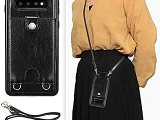 DEFBSC Samsung Galaxy S10 Crossbody Wallet Case Premium leather Case with Detachable Adjustable Crossbody Strap and Credit Card Slots for Samsung Galaxy S10 6 1 Inch Black
