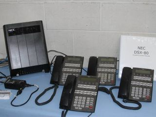 NEC DSX Commercial Telephone / Phone System with Power Supply & 6 Phone Units