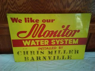 Metal Sign Monitor Water System, Chris Miller Barnesville