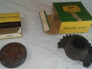 Vintage John Deere parts & boxes.