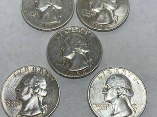 Washington Quarter Dollar lot   1954   1956   1958   1959   1962   Bid Now  All 5 Quarters