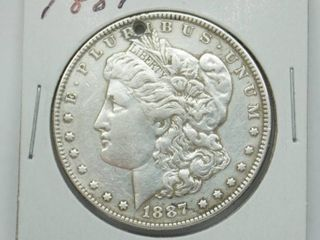 1887 Morgan Silver Dollar Coin   Has a hole in coin see pic