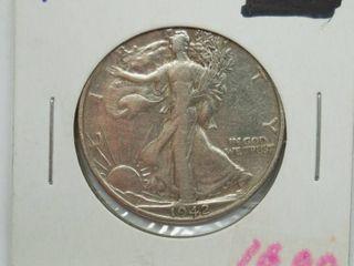 1942 D liberty Silver Half Dollar Coin
