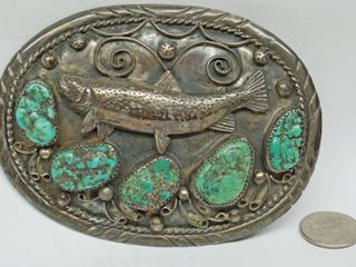 Handmade Fish Belt Buckle   Believed to Be Turquoise   Silver   Please come to inspection to verify