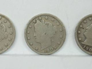 lot of 3 1905 liberty V Nickel