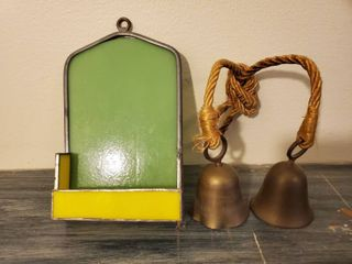 lot of 2  Stainglass Small Hanging Shelf  and 2 Brass Bells Connected